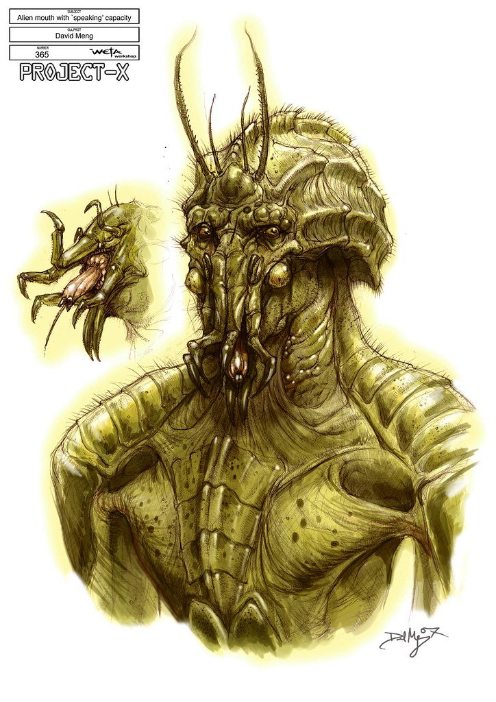 Boceto Sector 9 Alien boca