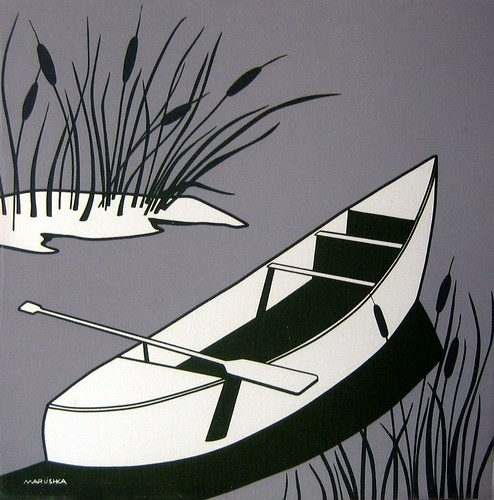Marushka silkscreen print - canoe and oar (white, gray, black)