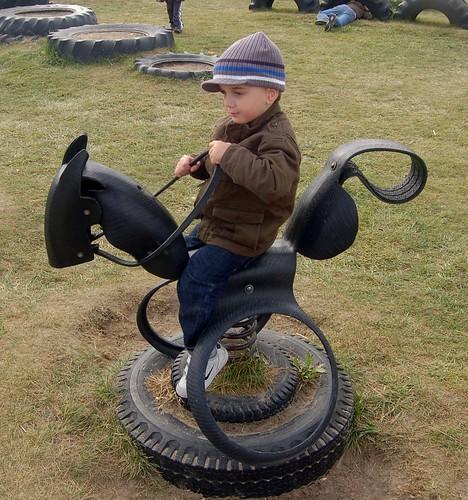Jacob Rides a Tire horse