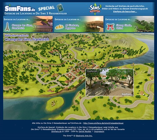 News   Virtual map of The Sims 3 World Adventures destinations by