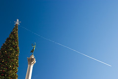 Wish Upon a Star (olvwu | 莫方) Tags: sf sanfrancisco california christmas ca city blue sky usa tree green statue star christmastree column unionsquare jungpangwu oliverwu oliverjpwu olvwu