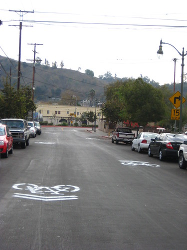 Sharrows hit the ground in LA - the first of many, in December of 2009.