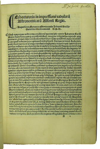 Incipit, initial and ownership inscription in Alphonsus X, Rex Castellae: Tabulae astronomicae