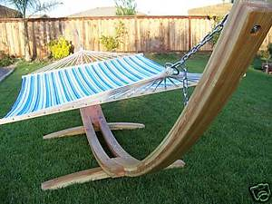New Wooden Arc Hammock Stand+ Double Hammock, Solid