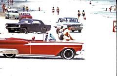 Daytona Beach, Fla. (Light Collector) Tags: usa ford chevrolet beach 1974 florida convertible mustang daytonabeach sunbathers galaxie karmannghia 1959