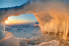 Gate of winter dawn (Rob Orthen) Tags: winter sea sky ice sunrise suomi finland landscape dawn helsinki nikon europe scenic rob fisheye scandinavia talvi dri meri maisema vesi pinta d300 j uutela orthen roborthenphotography seafinland nikon105mm28fisheye