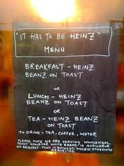 """It has to be Heinz"" menu"