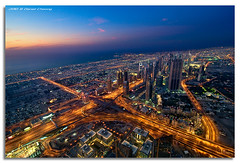 View from The Top - The Veins of Dubai (DanielKHC) Tags: blue sunset interestingness high nikon long exposure dubai view dynamic dusk top uae aerial explore 124 khalifa hour range fp frontpage dri hdr burj sheikhzayedroad d300 digitalblending danielcheong danielkhc tokina1116mmf28 124thfloor gettyimagesmeandafrica1