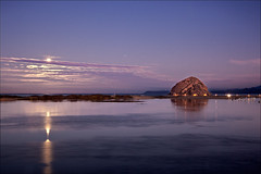 The Blue Moon Sets Over Morro Bay Harbor (Mimi Ditchie) Tags: moon clouds sunrise dawn fullmoon morrobay morrorock moonset bluemoon supershot platinumphoto theunforgettablepictures 123109