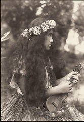 Hawaiian Girl -- 1912 (bjebie) Tags: flowers girl hawaii student native hawaiian grassskirt ukelele musicinstrument bigislandofhawaii rjbaker kohalagirlsseminary
