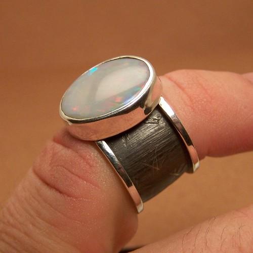fire fox gray opal silver ring