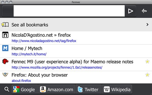 Fennec 1.0rc3 - bookmarks
