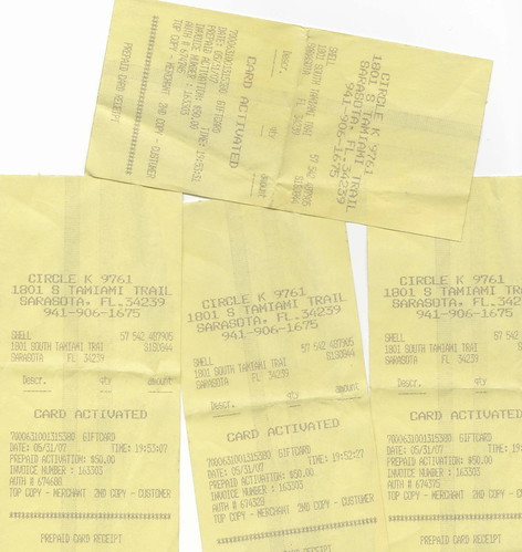 gas gift card receipts
