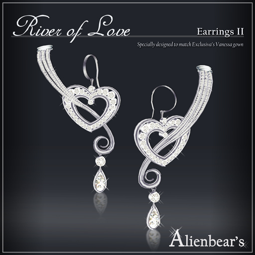 River of Love earrings II white