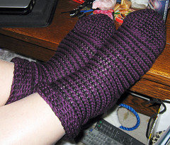 purple and black striped socks