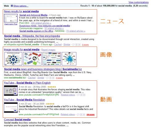 Googleの「Social Media」での検索結果