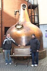 Kevin and Ben standing next to the very first barrel of Jameson at The Old Jameson Distillery. (Hangar 24 Craft Brewery) Tags: ca bridge ireland england ford beer europe kevin ben jessica hangar cook award craft trent brewery kristi 24 wright guiness distillery js section redlands upon burton 2010 midlands jameson ibd marstons zerek