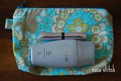small zipper pouch- amy butler fabric (coco stitch) Tags: blue grey small zipper amybutler esty cosmeticpouch cocostitch