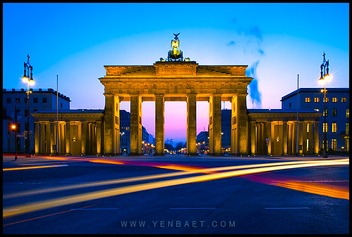Berlin - Breaking Dawn and Light Streams at Brandenburg Gate