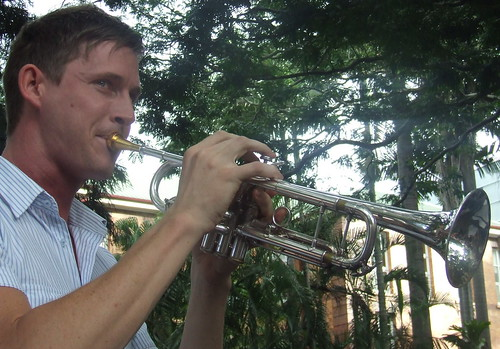 Darren Skaar plays trumpet at the Queensland Locked Out Rally, Parliament House, George and Alice Sts Brisbane City, Queensland, Australia 100311
