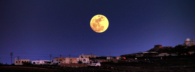 Full moon over Santorini