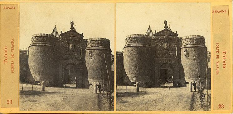 Vista estereoscópica de la Puerta de Bisagra hacia 1860 por E. Làmy
