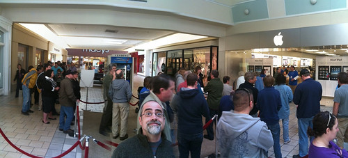 Waiting in line for the iPad at the Apple Store