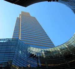 Keyhole (Aunt Teena) Tags: nyc blue sky lookingup bloombergbuilding photoshopelements anotherbuilding