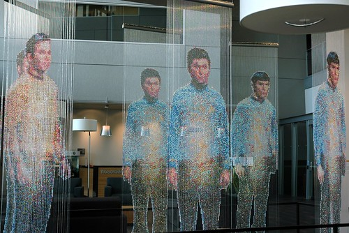 Star Trek, beads and wire, sculpture by Devorah Sperber, Spock, Kirk and McCoy: Beaming-In (In-Between), Microsoft, Studio D, Redmond, Washington, USA
