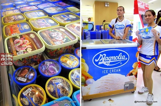 Magnolia Ice Cream in SM Supermarket (they gave away Pinipig Crunch sweet corn flavor)