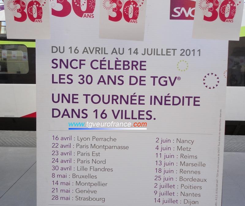 La rame TGV PSE 65 effectue une tournée dans 16 villes entre avril et juillet 2011.