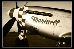 Me and Marinell (Huw Hopkins LRPS Photography) Tags: autumn leather canon photography eos flying day fighter open maurice aircraft wwii north norfolk sigma jacket american mustang 1770 usaf warbirds hammond aviators huw hopkins hardwick airfield p51 p51d marinell 400d huwjhopkins 4413521