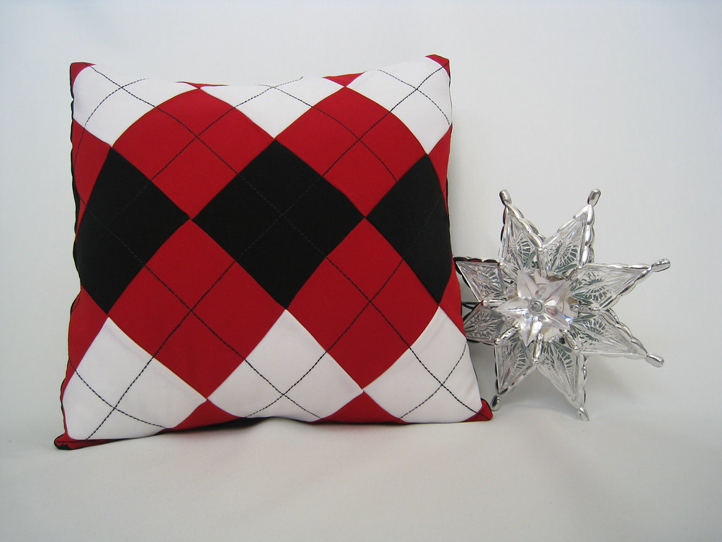 Red White Black Argyle Christmas Pillow Cover by Petette