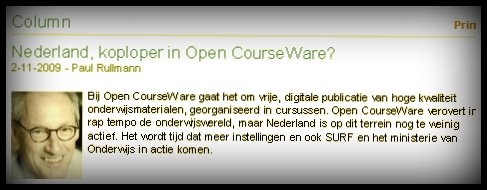Nederland, koploper in Open CourseWare ?