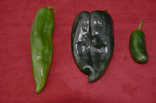 anaheim, poblano and jalapeno