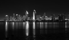 Black and White, At Night (SoxFanInSD) Tags: blackandwhite bw geotagged explore sandiegoskyline explored 10millionphotos sandiegoatnight nikond90 yourphototips tamron2875mm28 nikond90bw