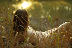 i am alive (Rebecca Nathan) Tags: sunset water grass yellow gold lakeside travelsofhomerodyssey