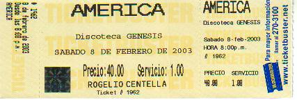 America - Boleto De Concierto 8-2-03