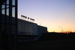 Future of Flight (djlpbb40) Tags: sunset sky orange mountain tree field sign museum washington airport nikon purple sundown dusk letters boeing everett paine mukilteo pae d40 painefield kpae futureofflight snohomishcountyairport