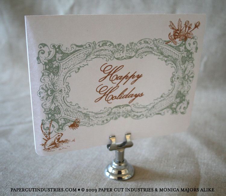 Custom Happy Holidays cards, letterpressed holiday cards