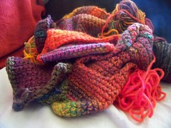 My Crocheting (bigelco07) Tags: christmas winter hat scarf crochet knit yarn homemade present string wooly mittens skien slipperscolors