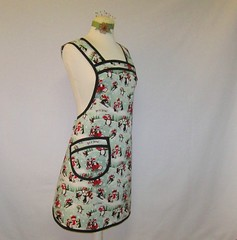 Vintage Style Apron - Penguins in the Snow (Geneva Designs) Tags: snowflake christmas blue red white snow black green ice hat angel vintage penguin snowman women skiing teal skating it apron tape gift snowmen sledding medium tall stocking etsy pocket custom beanie let peppermint bias iiw