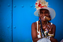 cigar lady (flamed) Tags: blue madame portrait hat lady wooden character country havana cuba cigar colourful cuban travelportrait