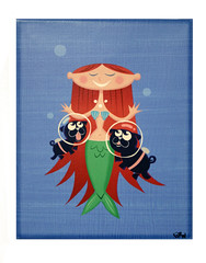 mermaid and pugs canvas print (robolove3000) Tags: cute dogs underwater shell pug scuba redhead clevage mermaid