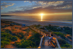 Grand View (Ink On |  ) Tags: ocean wood sunset sea sky people yellow sand steps australia shore adelaide bushes hdr d80 maslinbeach