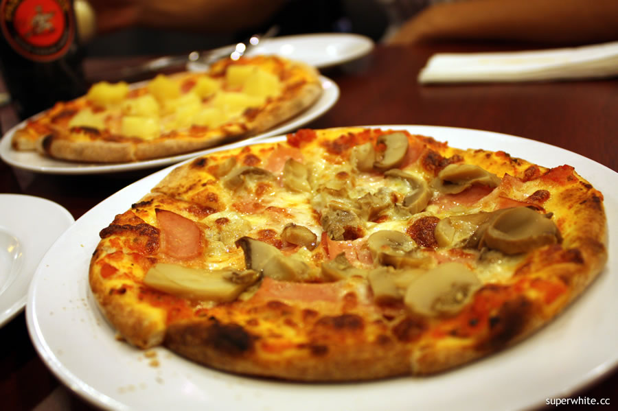 Ham & Mushroom and Hawaiian Pizza