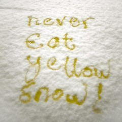 Snow Safety: Important Dietary Advice.Never Eat Yellow Snow (photocillin) Tags: snow never pee yellow writing fun control safety eat wee advice urine piss calligraphy wisdom diet taking ycc bladder urang dietary uring mlud calligrapee
