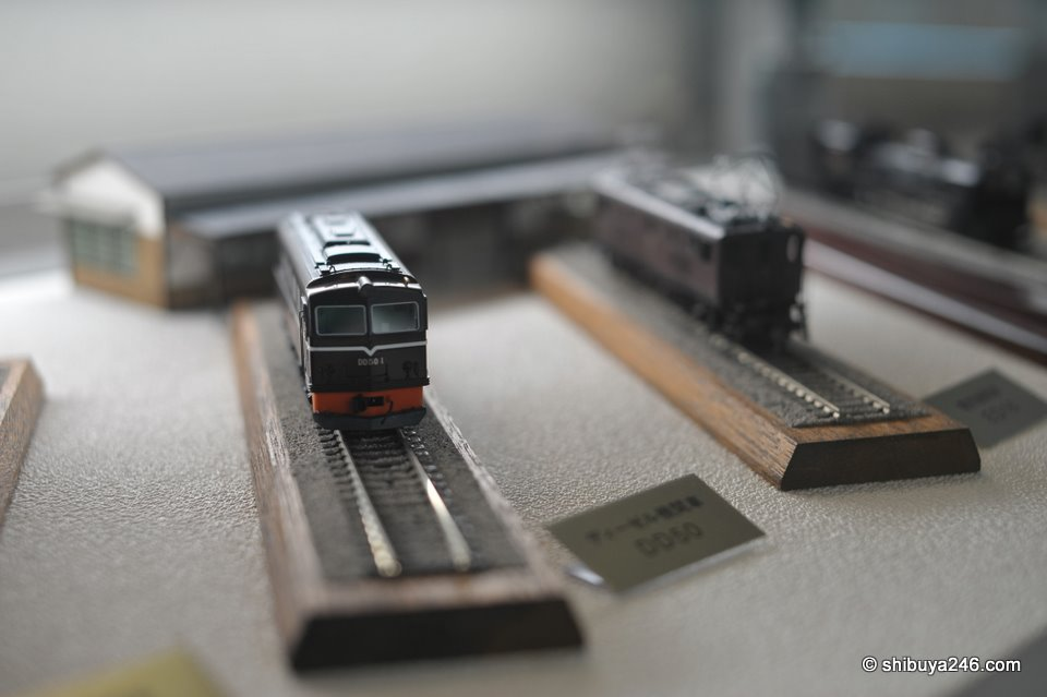 Scale model trains from the collection.