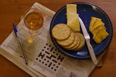 Still Life : Cheese & Biscuits (Skink74) Tags: uk blue england stilllife 20d glass cheese port pen paper shropshire drink crossword knife canoneos20d biscuits cheddar biro bic cheeseandbiscuits nikkor35f14 nikkor35mm114ai