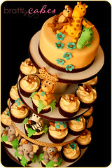 Safari Baby Shower (Natty-Cakes (Natalie)) Tags: elephant cake monkey cupcakes turtle alligator lion zebra giraffe fondant
